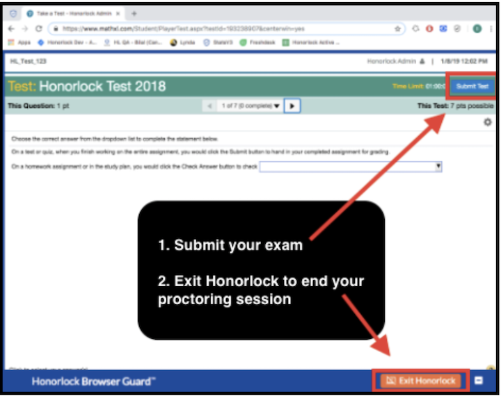 Screenshot of the Submit Test and Exit options in a third-party Honorlock exam.