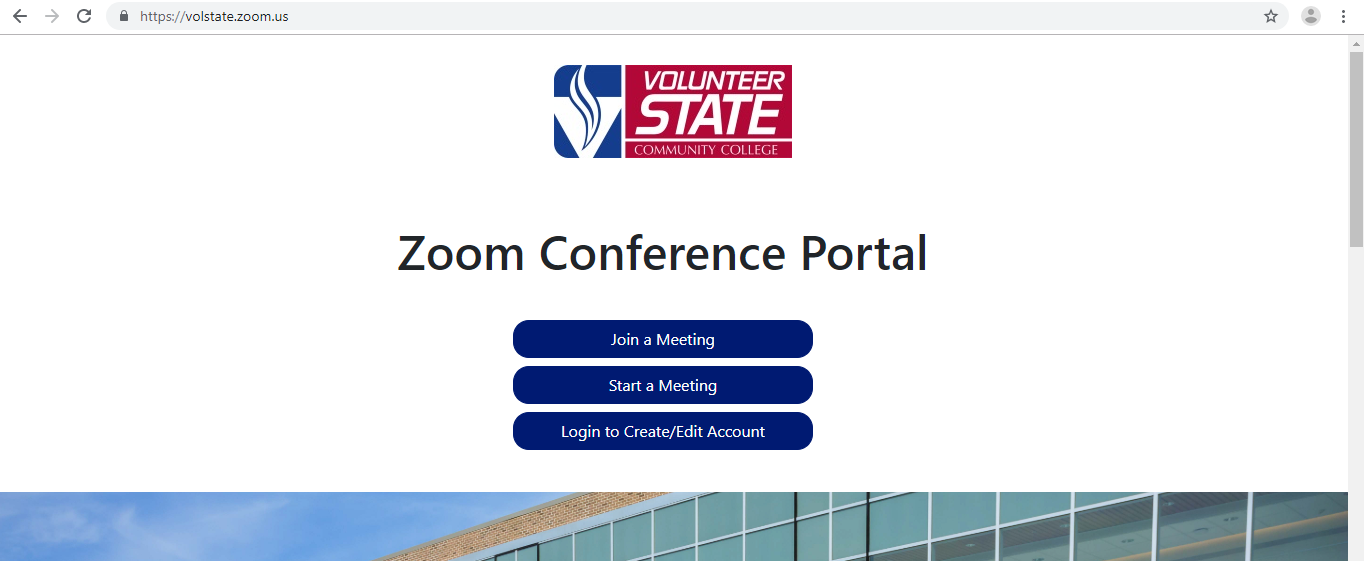 screen shot of the Vol State Zoom web log in page