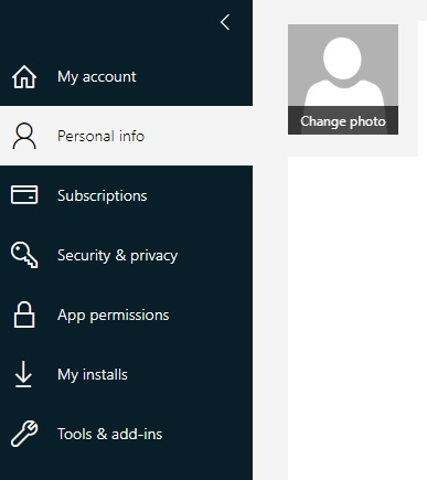 Outlook Personal Info - Change Photo