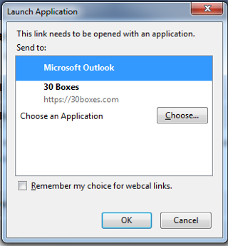 Screenshot of the Microsoft Outlook option.