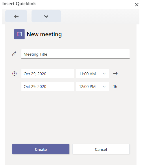 Screenshot of the options of meeting title and times while inserting a Teams meeting using Quicklink.