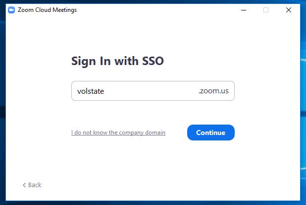 screen shot of Zoom desktop SSO company domain field