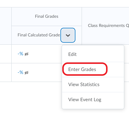 screenshot of Enter Grades option