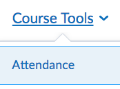 screen shot of the course tool menu and attendance link