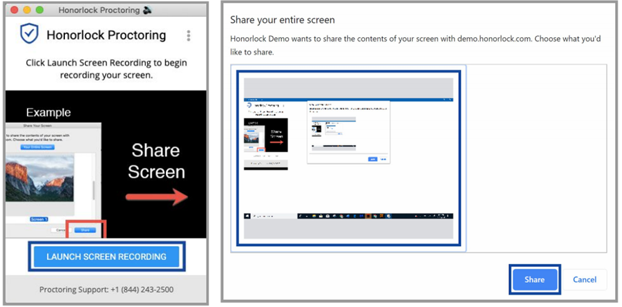 Screenshot of launch screen recording and choosing the correct screen to share.