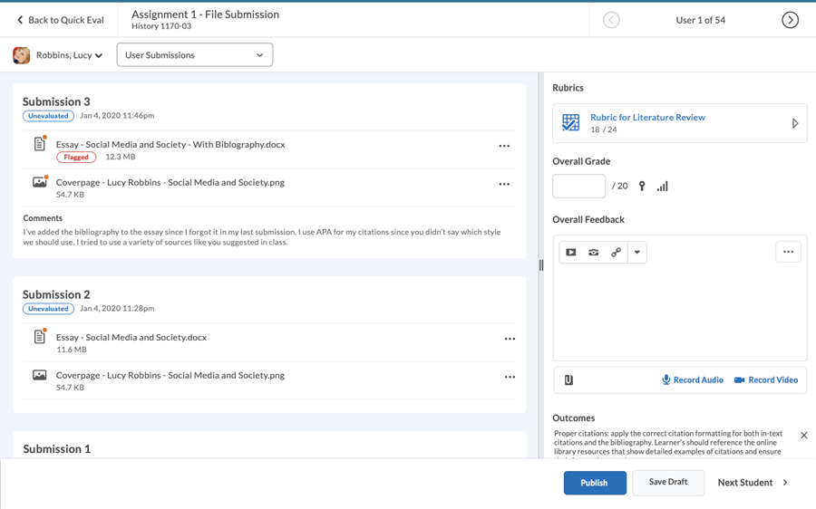 Screenshot of the new eLearn Dropbox Learner Submission List