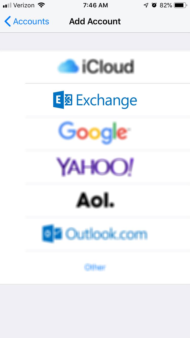 Add Account > Exchange