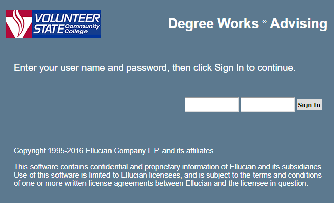Degree Works login page