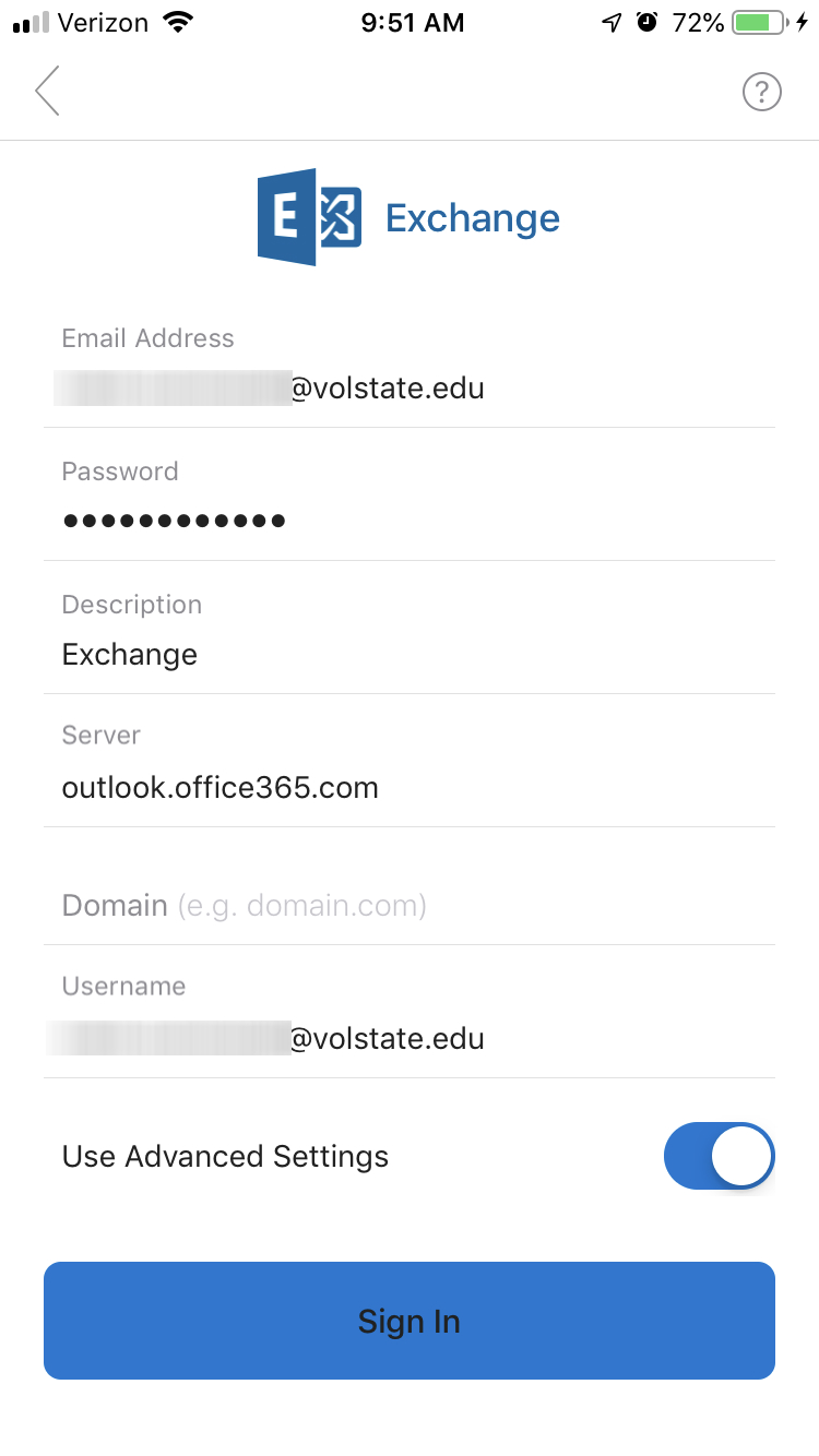 Exchange Vol State sign-in