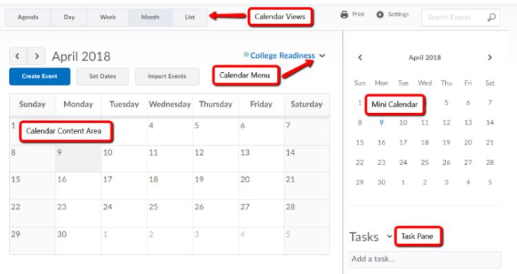 Calendar showing five parts